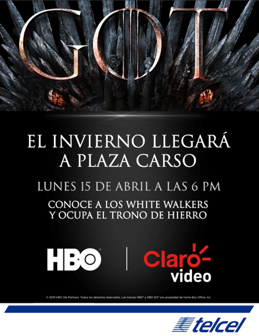 ¡Fans de Game of Thrones! los White Walkers y el espectacular Trono de Hierro llegan a Plaza Carso - trono-de-hierro-claro-video