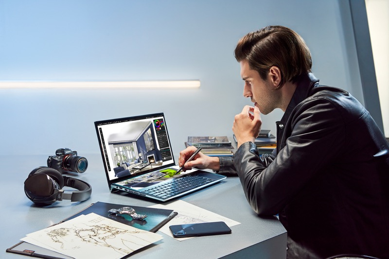 ASUS lanza Zenbook Pro Duo que incorpora ScreenPad Plus,una pantalla táctil secundaria - zenbook-pro-duo_ux581_stylus-content-creation-800x534
