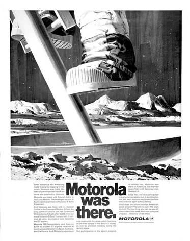 Motorola conmemora 50 años de la llegada del hombre a la Luna - publicidad-de-motorola-de-la-epoca
