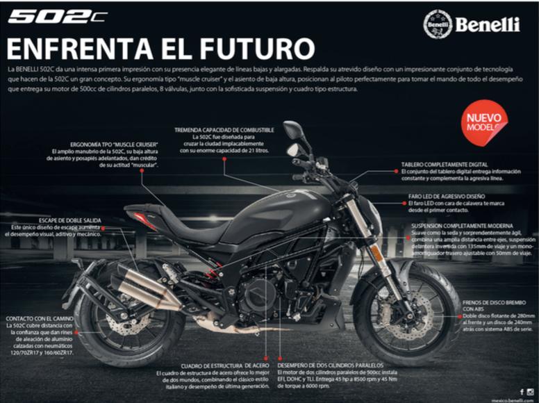 Benelli, marca Italiana de motocicletas lanza su colección 2020 en México - motocicleta-benelli-modelo-502c-2