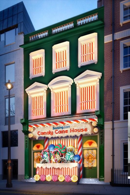 Candy Cane House, el alojamiento más dulce de todos - facade-upper-sign
