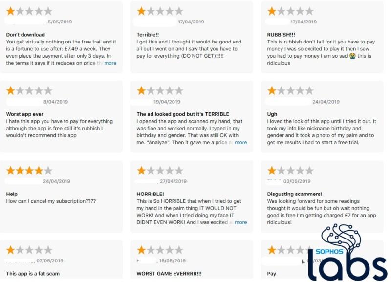 """Sophos detecta apps """"fleeceware"""" que acechan a los usuarios de iPhone - one_star_reviews_s1-800x577"""