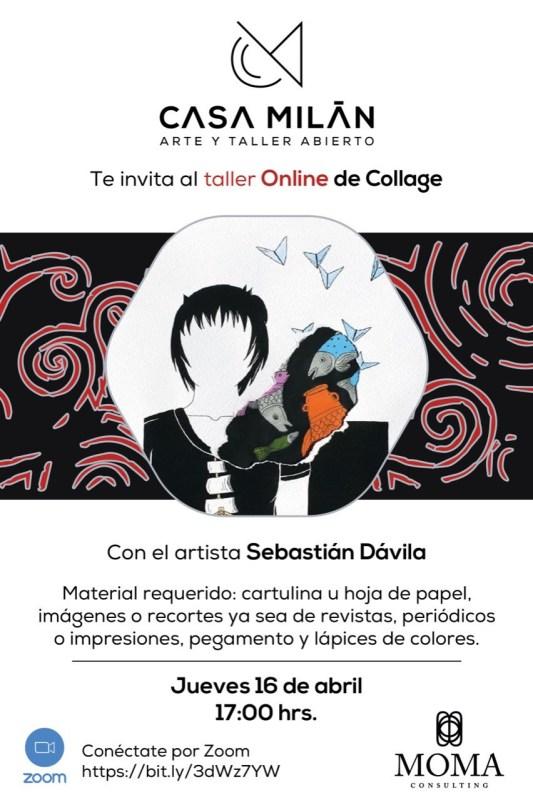 Taller gratuito en línea de Collage dirigido a niños y adultos con el artista Sebastián Dávila - taller-online-collage-533x800