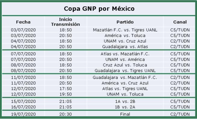La Copa GNP por México se vive en TUDN - calendario-de-la-copa-gnp-por-mexico