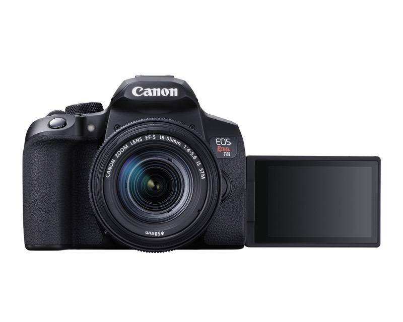 EOS Rebel T8i de Canon, la primera cámara EOS réflex con grabación de video vertical - hr_eost8i_front_efs18_55mm_lcdout-800x640