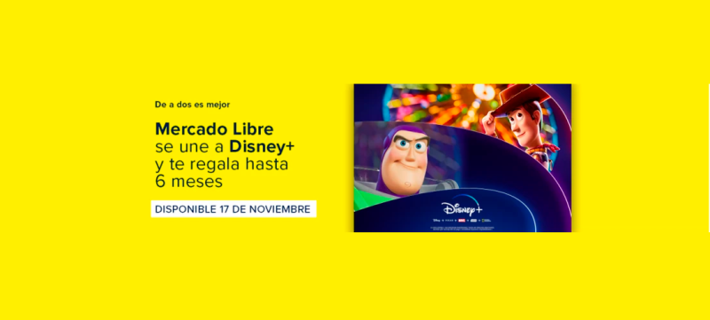 Mercado Libre ofrecerá meses de regalo de suscripción a Disney+ - disney-plus-mercado-libre-800x361