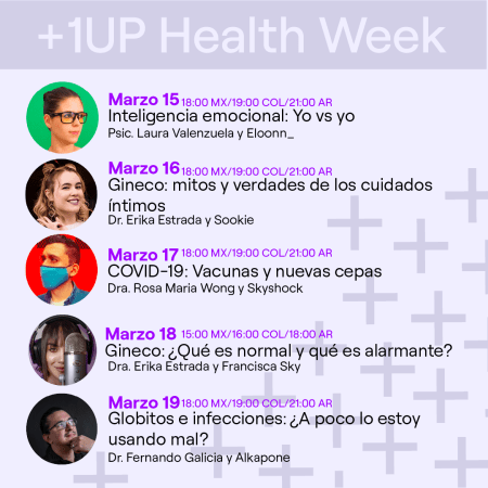 Llega la segunda temporada de +1UP Health Week a Twitch