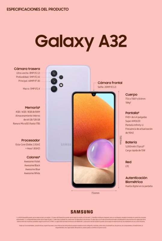 Samsung Galaxy A32, A52 y A72 ¡ya disponibles en México! - a32-product-specifications-fin-es-539x800
