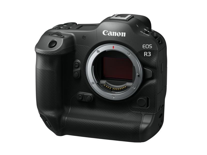 Canon EOS R3, cámara full frame mirrorless de gran velocidad y alto rendimiento - camara-eos-r3-canon-frontslant