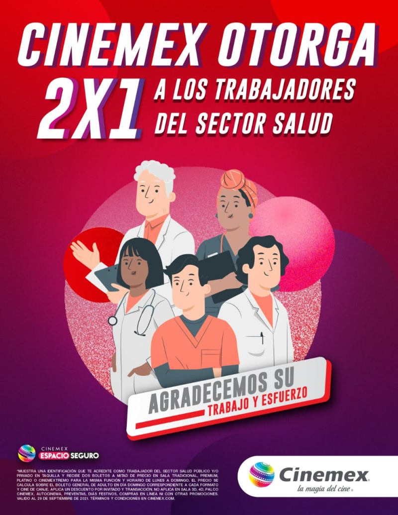 Cinemex agradece al personal médico por su gran labor y le otorga 2×1