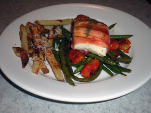 Prosciutto Wrapped Halibut, Haricot Verts, Baked Duck Fat Fries