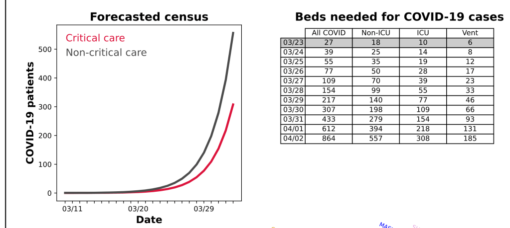 Graph and table of bed needs by type by day