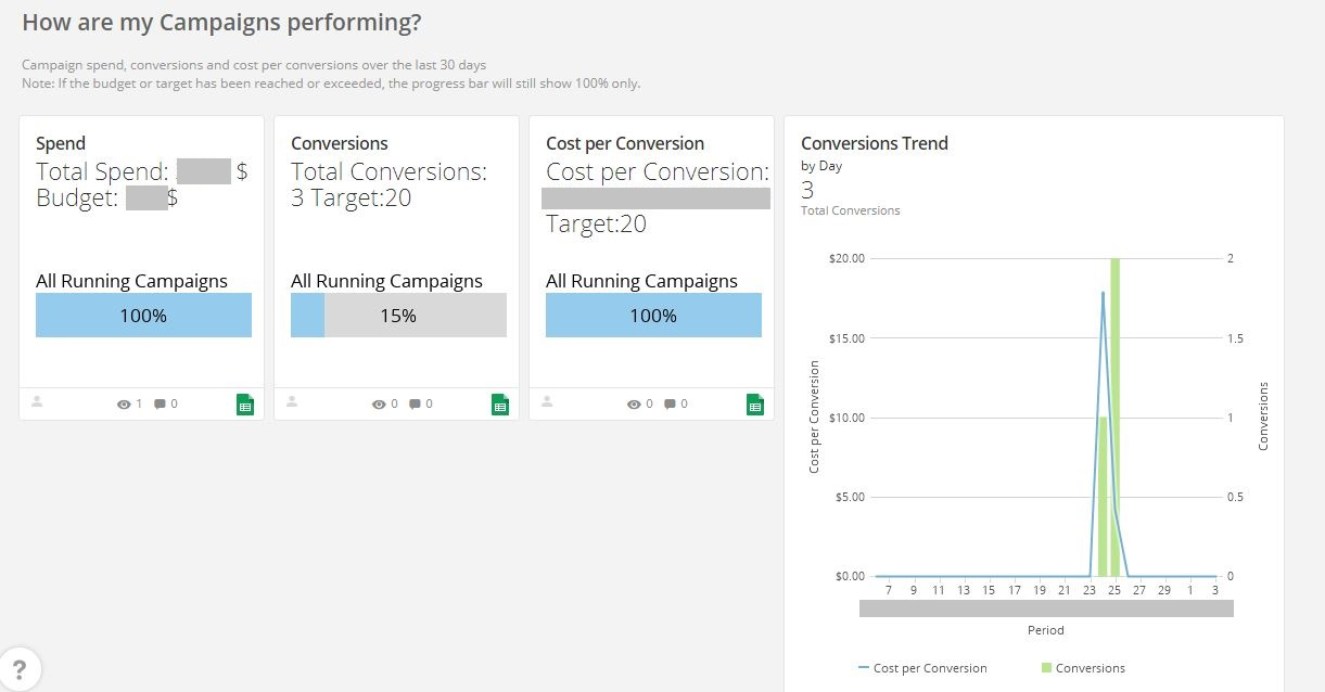 Executive Dashboard - Paid Marketing AdWords Dashboard