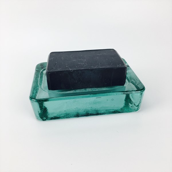 Recycled glass soap dish with charcoal soap