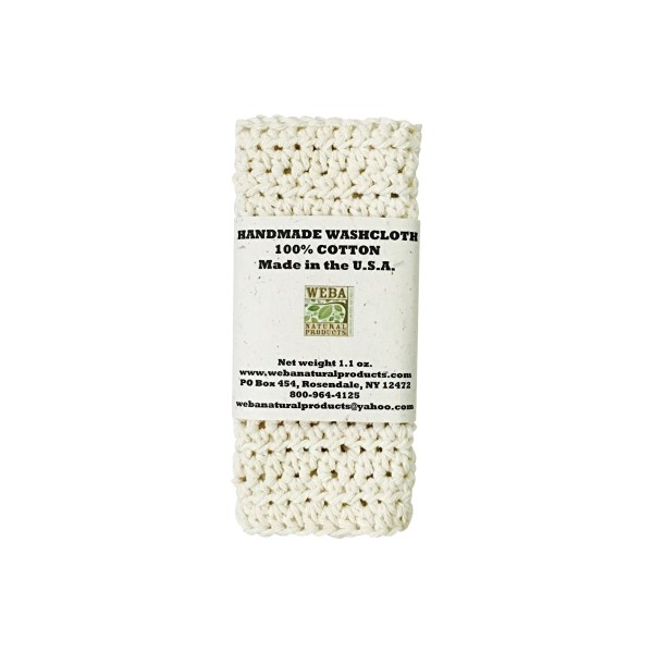 Hand crocheted organic cotton washcloth made in USA