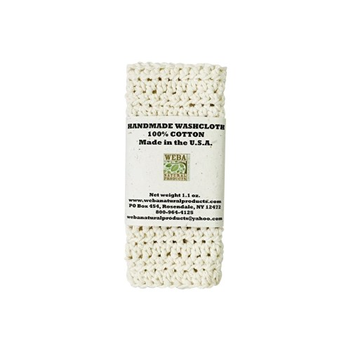 Hand crocheted organic cotton washcloth made in USA