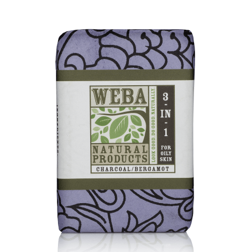 3 in 1 bar soap with activated charcoal and bergamot essential oil