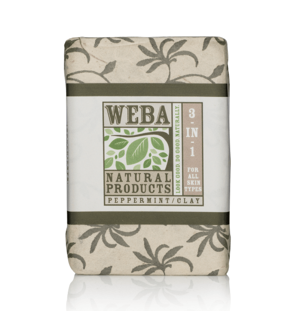 3 in 1 bar soap with peppermint oil and French green clay