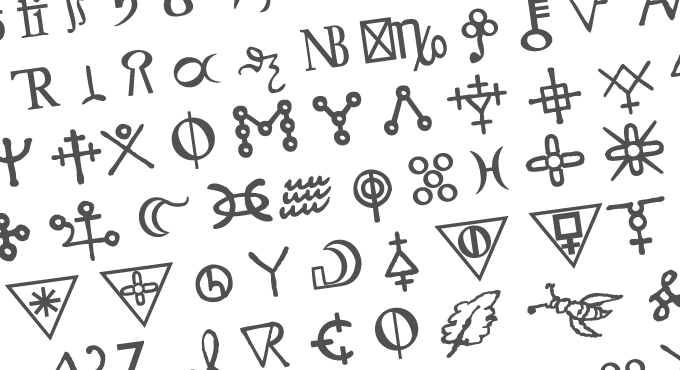 Photo showing some symbols from the Newton Font