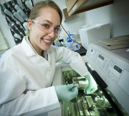 Photo of Wright State biology major Theresa Fennell in lab