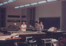 night in classroom