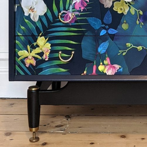 Carmen, leg detail with découpaged drawers