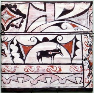 Pueblo painted pottery. Zuni culture, pre-Columbian art.
