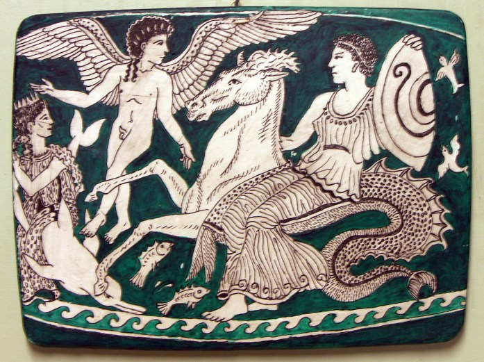 Thetis and Nereids conveying armour across the sea to Achilles at Troy.