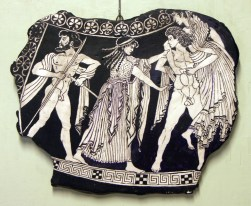 Thesus carrying off Helen. His friend Potroclus on the left.