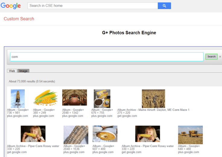 Google Custom Search Engine search for corn