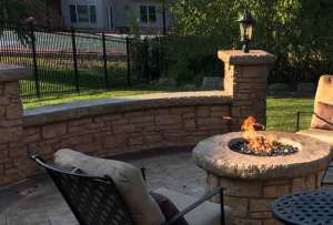 Custom stamped concrete outdoor seat wall