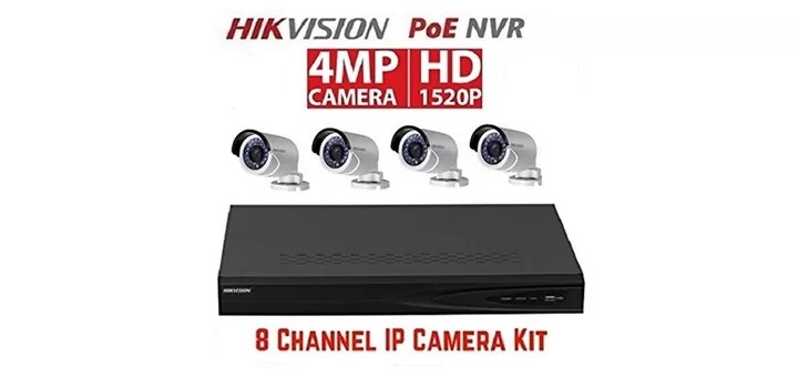 Hikvision 8 channel with 4pcs 4mp cameras