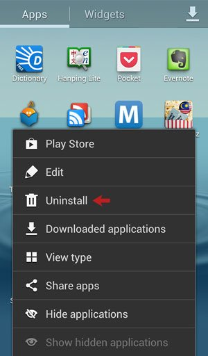 Uninstall App Option