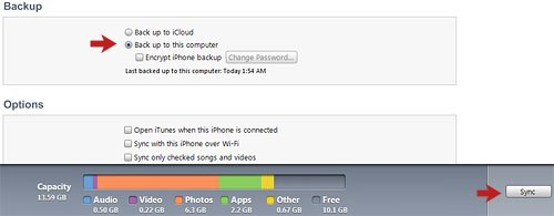 iTunes Backup Option