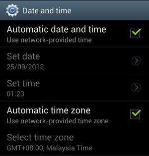 Date and Time Automatic Options