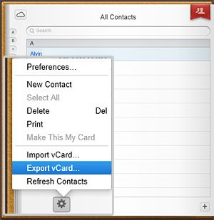 Export vCard Option