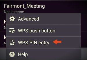 wps pin entry option