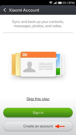 xiaomi account screen