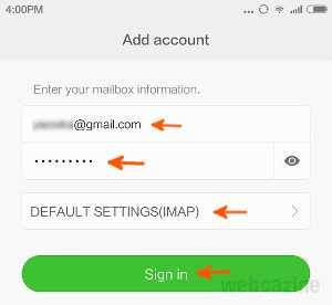 how to add rediffmail account to gmail app