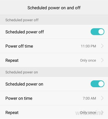 honor8 schedule power on off