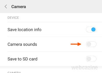miui camera sound option