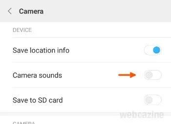 miui camera sound option