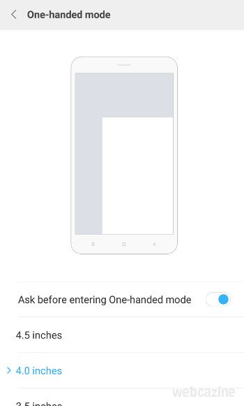 miui one handed mode
