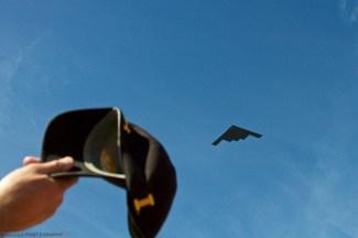 B-2 bomber performs the pregame flyover