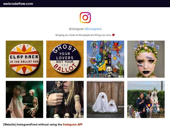 InstagramFeed-without-using-the-Instagram-API