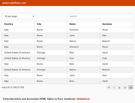 js-datatable-pure-javascript