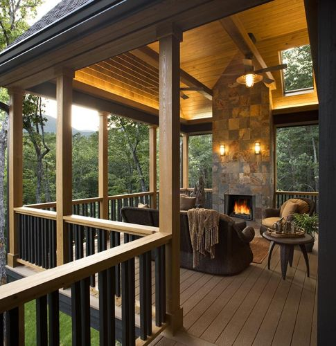 Covered deck with fireplace, now this is a spot to relax!