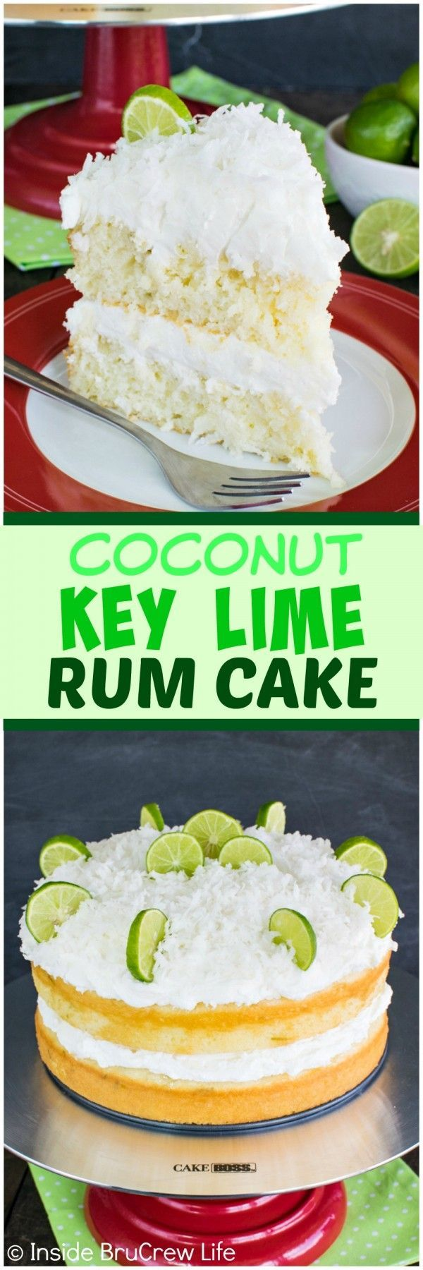 Coconut Key Lime Rum Cake – coconut frosting and a rum butter glaze adds a fun twist to this citrus cake!
