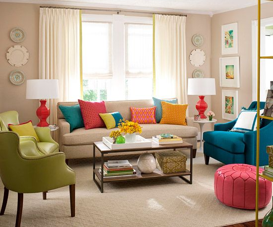 I love to have neutral base colors then decorate with pops of color. This also makes it easier to switch o