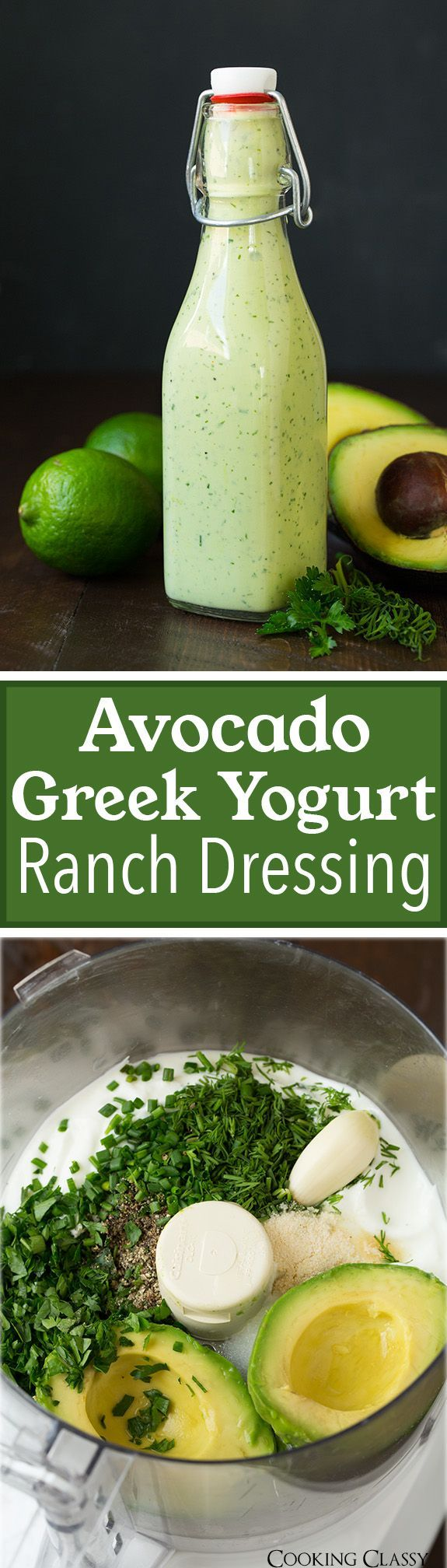 Avocado Greek Yogurt Ranch Dressing – easy, made from scratch and so delicious!! Can be used as a veggie d